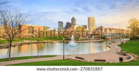Panorama view of downtown of Indianapolis by Indiana Central Canal - stock photo