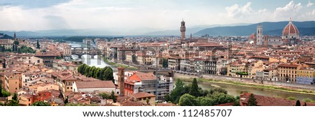 Panorama View of Florence, Tuscany, Italy - stock photo