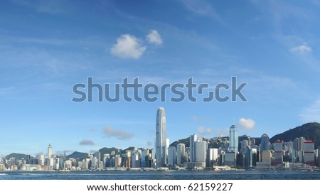 Panorama view of Hong Kong skyline - stock photo