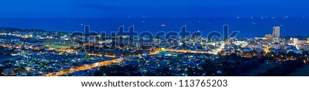Panorama view of Hua Hin city in twilight, Thailand - stock photo