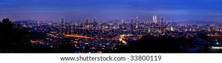 Panorama view of Kuala Lumpur, capital city of Malaysia - stock photo