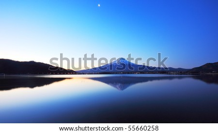 panorama view of lake Kawaguchi and mountain Fuji, Japan - stock photo