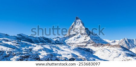 Panorama view of Matterhorn on a clear sunny day from gornergrat train station - stock photo