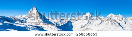 Panorama view of Matterhorn, Weisshorn and other peaks of the Pennine Alps on the Italian-Swiss border - stock photo