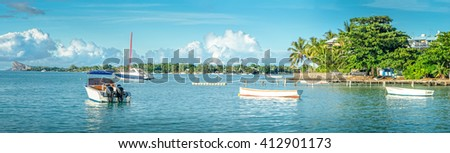 Panorama view of Mauritius famous island Coin De Mire - stock photo
