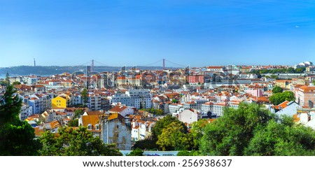 Panorama view of old town Lisbon, the capital and the largest city of Portugal - stock photo