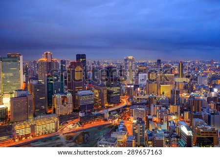 Panorama view of Osaka urban city at twilight in Japan - stock photo