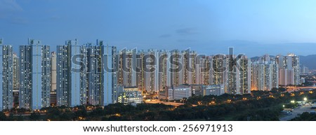 Panorama view of public estate in Hong Kong  - stock photo