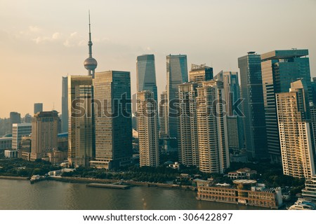 Panorama view of Shanghai city scape in sunset time. Aerial view - stock photo