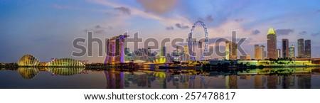 Panorama view of Singapore city skyline at Marina Bay - stock photo