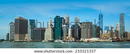Panorama view of skyline in manhattan, new york city - stock photo