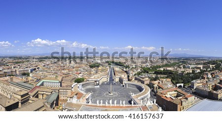 Panorama view of St. Peter's Basilica square and Rome city, Rome Italy - stock photo