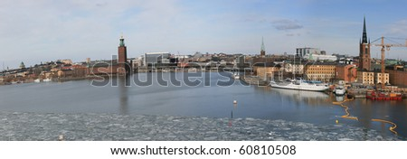 Panorama view of Stockholm city (Sweden) in winter- with details to City Hall. - stock photo