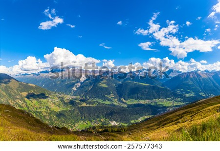 Panorama view of the siwss alps in bernese oberland, Switzerland - stock photo