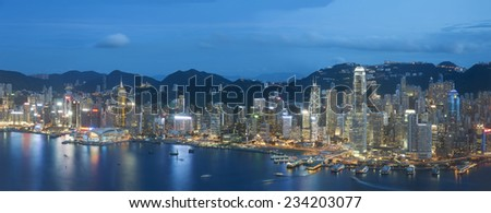 Panorama view of Victoria Harbor of Hong Kong  - stock photo