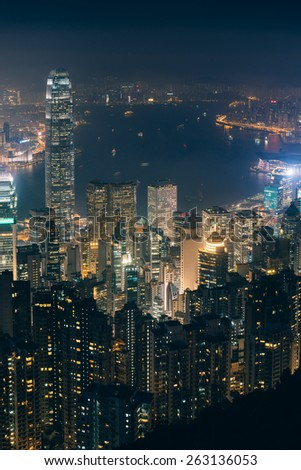 Panorama view of Victoria Harbour from Victoria Peak in Hong Kong. - stock photo
