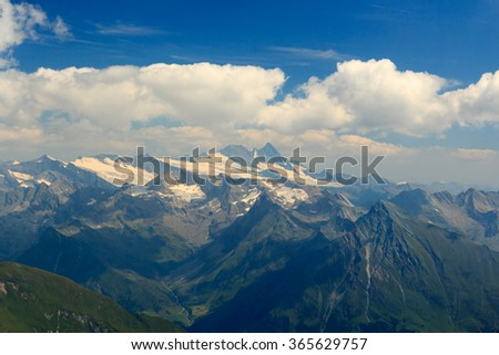 Panorama view with mountain Grossglockner and glaciers in Hohe Tauern Alps, Austria - stock photo