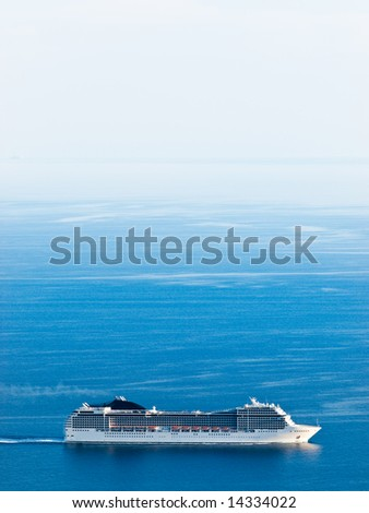 Panorama with cruiser. Near island Lastovo, Croatia - stock photo