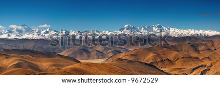 Panorama with Everest and Cho Oyu mountain - stock photo