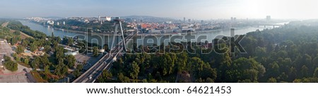 panoramatic picture of morning in Bratislava, Slovakia - stock photo