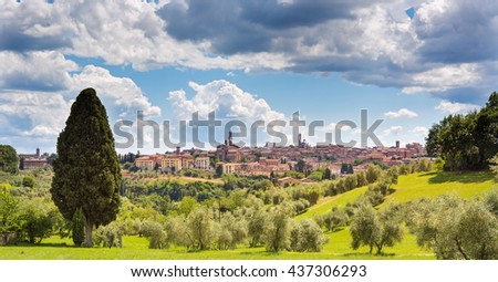 Panoramatic view of Siena, Italy - stock photo