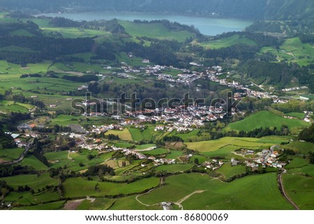 panoramic aerial view at Sao Miguel Island - stock photo