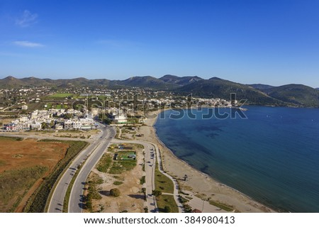Panoramic aerial view of Anavissos coastal town near Athens. Attica - Greece - stock photo