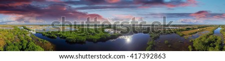 Panoramic aerial view of Everglades, Florida. - stock photo