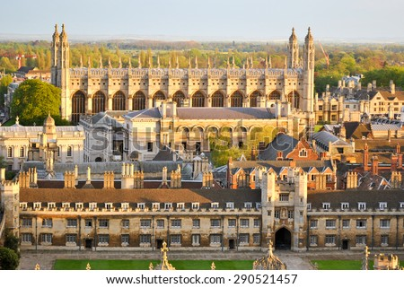 Panoramic aerial view of historical buildings in Cambridge, as seen from the tower of St. John's College right before the sunset. - stock photo