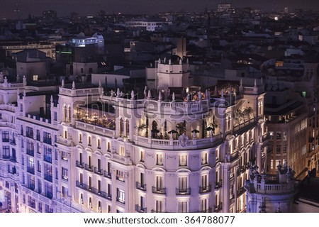 Panoramic aerial view of Madrid, Spain at night. - stock photo