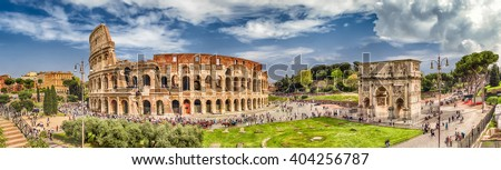 Panoramic aerial view of the Colosseum and Arch of Constantine, Rome, Italy - stock photo