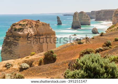 Panoramic aerial view of Twelve Apostles in Port Campbell, Australia. - stock photo