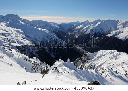 Panoramic Alpine Skyline and the Bealey River Canyon. 
