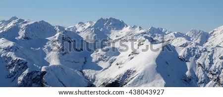 Panoramic Alpine Skyline Viewed from Mt Bealey.