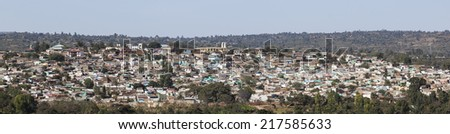 Panoramic bird eye view of ancient walled city of Jugol. Harar. Ethiopia. - stock photo