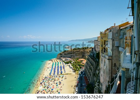 Panoramic bird-view of Tropea coastline - stock photo