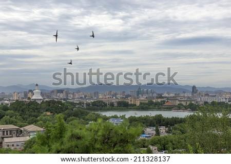 Panoramic city Beijing, pagoda  - stock photo