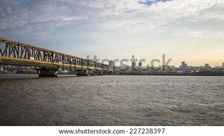 Panoramic City View with Pancevo bridge across Danube river - Belgrade, Serbia. - stock photo