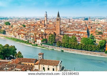 Panoramic cityscape of Verona, Veneto, Italy - stock photo