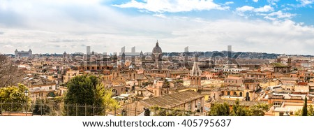 Panoramic cityscape view across Rome from the top of the Spanish Steps - stock photo