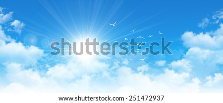 Panoramic cloudscape. High resolution blue sky background. Sun and birds breaking through white clouds - stock photo