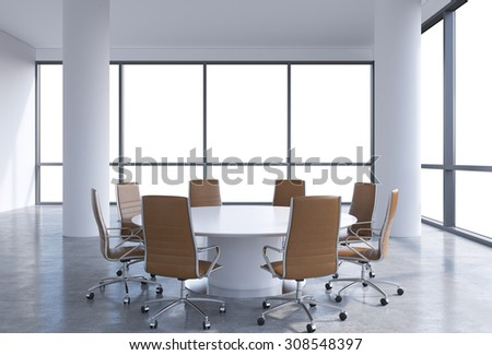 Panoramic conference room in modern office, copy space view from the windows. Brown leather chairs and a white round table. 3D rendering. - stock photo