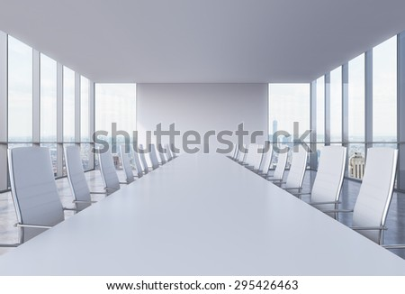 Panoramic conference room in modern office in New York City. White chairs and a white table. 3D rendering. - stock photo