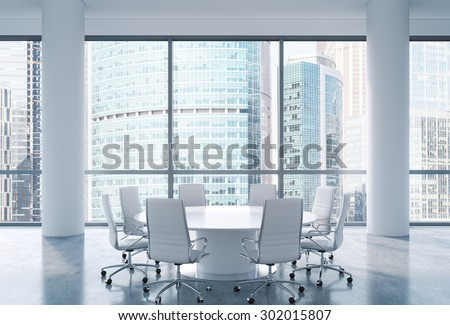 Panoramic conference room in modern office, Moscow International Business Center view. White chairs and a white round table. 3D rendering. - stock photo