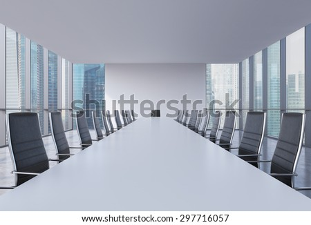 Panoramic conference room in modern office, Singapore view. Black leather chairs and a white table. 3D rendering. - stock photo