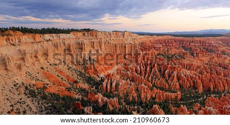 Panoramic dawn landscape in Bryce Canyon, Utah, USA. - stock photo