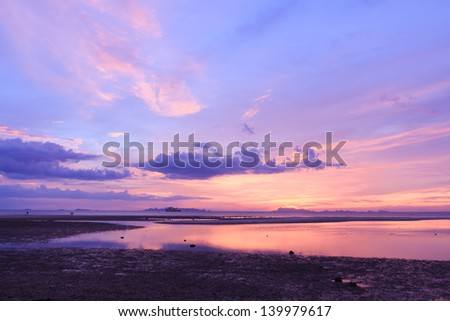 Panoramic dramatic tropical sunset sky and sea - stock photo