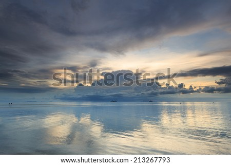 Panoramic dramatic tropical sunset sky and sea at dusk ,Samui Thailand - stock photo