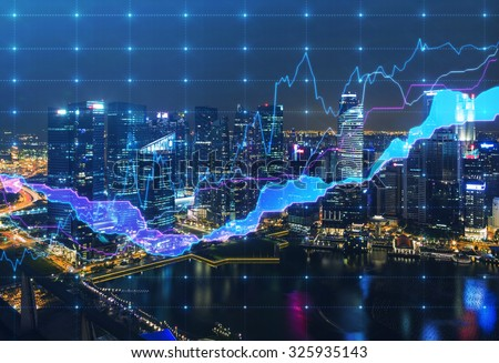 Panoramic evening New York view with the digital financial chart. A concept of the professional financial services. - stock photo