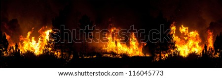 Panoramic Fire with 3 Photos - stock photo